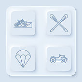 Set line Bicycle on street ramp, Crossed paddle, Parachute and All Terrain Vehicle or ATV motorcycle. White square button. Vector