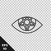 Black line Pentagram icon isolated on transparent background. Magic occult star symbol.  Vector Illustration