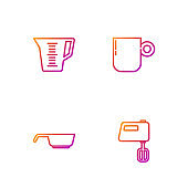 Set line Electric mixer, Frying pan, Measuring cup and Coffee. Gradient color icons. Vector