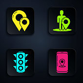Set Infographic of city map navigation, Map pin, Traffic light and Map marker with a silhouette of a person. Black square button. Vector