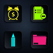 Set Document folder, Alarm clock with dollar symbol, Pencil and Document with minus. Black square button. Vector
