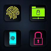 Set Lock , Fingerprint , Smartphone with fingerprint scanner and FTP folder and lock . Black square button. Vector
