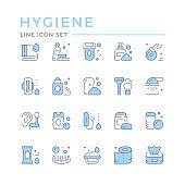 Set color line icons of hygiene