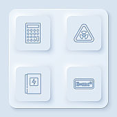 Set line Calculator, Triangle with radiation, Electrical panel and Equation solution. White square button. Vector