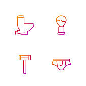 Set line Underwear, Shaving razor, Toilet bowl and brush. Gradient color icons. Vector