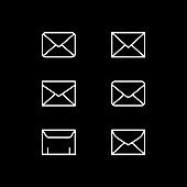 Set line icons of envelope