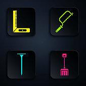 Set Snow shovel, Corner ruler, Metallic nail and Hacksaw. Black square button. Vector