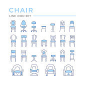 Set color line icons of chair