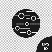 Black Planet Mars icon isolated on transparent background.  Vector Illustration