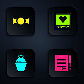 Set Marriage contract, Bow tie, Wedding cake with heart and Photo frames and hearts. Black square button. Vector