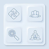 Set line Piece of puzzle, Users group, Magnifying glass and gear and Project team base. White square button. Vector
