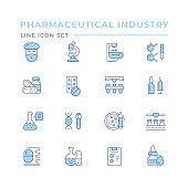 Set color line icons of pharmaceutical industry