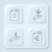 Set line Canister for gasoline, Plant in hand of environmental protection, Sprout in hand of environmental protection and Bio fuel canister. White square button. Vector