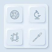 Set line Virus, Microscope, Bar of soap and Pipette. White square button. Vector