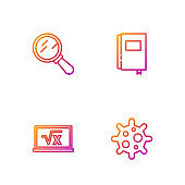 Set line Virus, Square root of x glyph, Magnifying glass and Book. Gradient color icons. Vector
