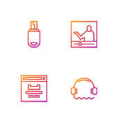 Set line Headphones, Browser window, USB flash drive and Online education. Gradient color icons. Vector