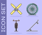 Set Skateboard, Ski and sticks, Bicycle and Bicycle wheel icon. Vector
