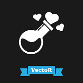 White Bottle with love potion icon isolated on black background. Valentines day symbol.  Vector Illustration