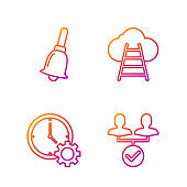 Set line Project team base, Time Management, Ringing bell and Ladder leading to cloud. Gradient color icons. Vector