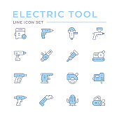 Set color line icons of electric tools