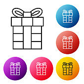 Black line Gift box icon isolated on white background. Merry Christmas and Happy New Year. Set icons colorful circle buttons. Vector Illustration
