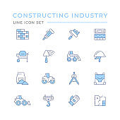 Set color line icons of constructing industry
