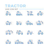 Set color line icons of tractors