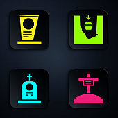 Set Grave with cross, Grave with tombstone, Grave with tombstone and Coffin in grave. Black square button. Vector