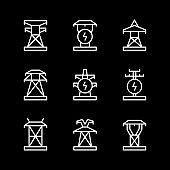 Set line icons of electrical pylon
