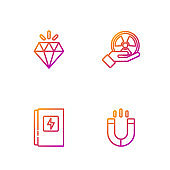 Set line Magnet, Electrical panel, Diamond and Radioactive. Gradient color icons. Vector