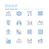 Set color line icons of roof