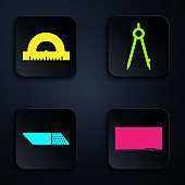 Set Chalkboard, Protractor grid for measuring degrees, Eraser or rubber and Drawing compass. Black square button. Vector