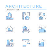 Set color line icons of architectural