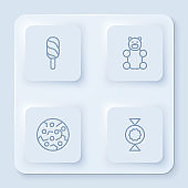 Set line Ice cream, Jelly bear candy, Cookie or biscuit and Candy. White square button. Vector