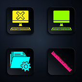 Set Ruler, Computer with keyboard and x mark, Folder settings with gears and Computer monitor with keyboard. Black square button. Vector