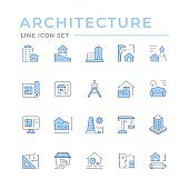 Set color line icons of architecture