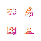 Set line Witch hat, Ancient magic book, Fireball and . Gradient color icons. Vector