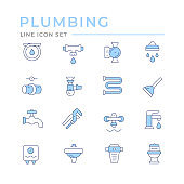 Set color line icons of plumbing