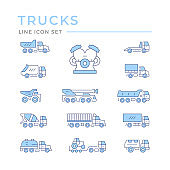 Set color line icons of trucks