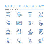 Set color line icons of robotic industry