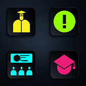 Set Graduation cap on globe, Student, Training, presentation and Information. Black square button. Vector