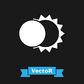 White Eclipse of the sun icon isolated on black background. Total sonar eclipse.  Vector Illustration