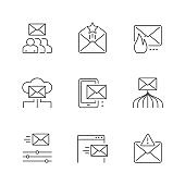 Set line icons of email marketing