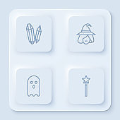 Set line Magic stone, Witch, Ghost and wand. White square button. Vector