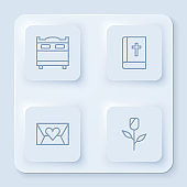 Set line Bedroom, Holy bible book, Envelope with Valentine heart and Flower rose. White square button. Vector