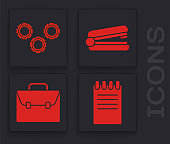 Set Notebook, Gear, Office stapler and Briefcase icon. Vector