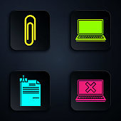 Set Laptop and cross mark on screen, Paper clip, File document and binder clip and Laptop. Black square button. Vector
