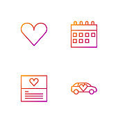 Set line Limousine car, Greeting card, Heart and Calendar. Gradient color icons. Vector