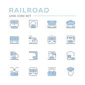 Set color line icons of railroad