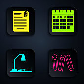 Set Paper clip, File document and paper clip, Workplace with table lamp and open book and Calendar. Black square button. Vector